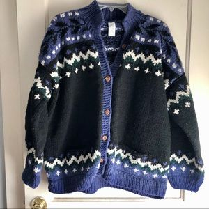 Sweaters - Sheep Wool Knit Multicolor Button Down Sweater